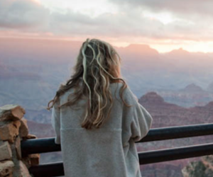 blond hair, canyon, and girl image