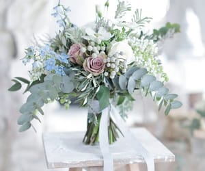 bouquet, groom, and bride image