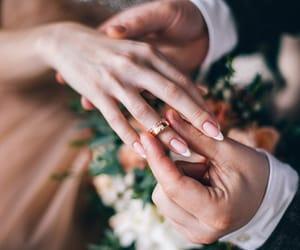 beautiful, bride, and groom image
