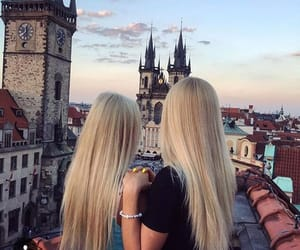 beuty, friendship, and blond hair image