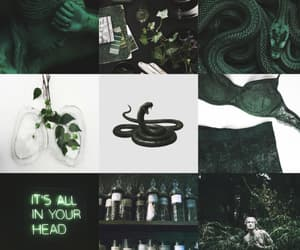 aesthetic, green, and hogwarts image