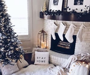 christmas, fireplace, and decoration image