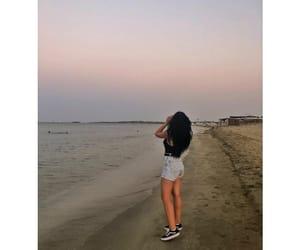 beach, sunset, and black hair image