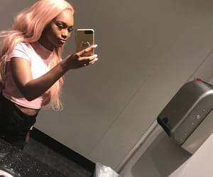 pink wig, lace front, and wig image