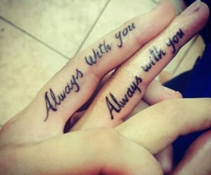 couples, finger, and tattoo image
