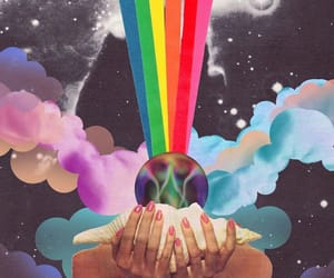 rainbow, art, and clouds image