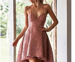 blush homecoming dress and lace prom dresses image