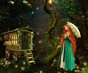 forest, gypsy wagon, and redhead green dress image