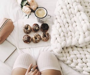 breakfast, chocolate, and donuts image