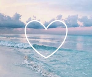 background, sea, and heart image