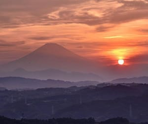 japan, landscape, and sunset image