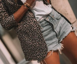 blazer, leopard, and shorts image