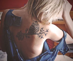 blonde, girl, and owl image