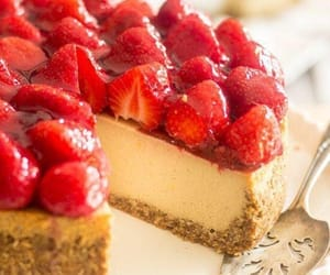 cheesecake, strawberry, and food image