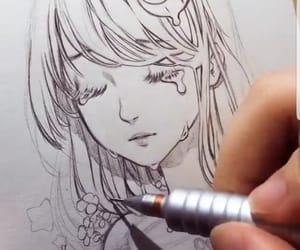 art, drawing, and eyelashes image