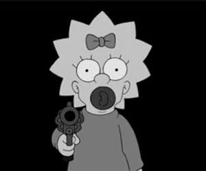 simpsons, gun, and black and white image