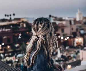 city, girl, and hair image