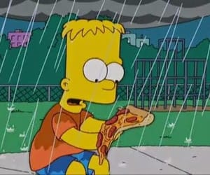 pizza, simpsons, and rain image
