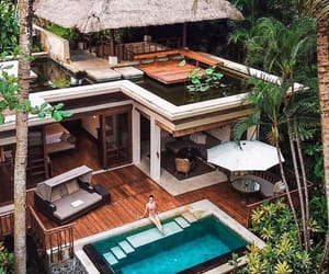beach house, tropical, and pool image
