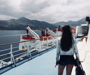 boat, brunette, and holiday image