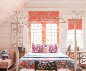 bedroom, decoration, and orange image