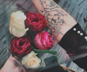 rose, tattoo, and bouquet image