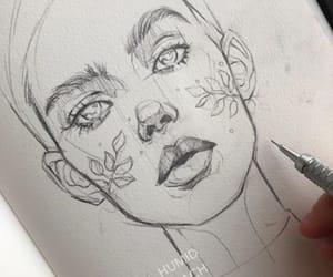 art, girl, and sketch image