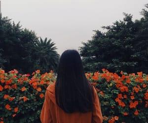 girl, flowers, and orange image