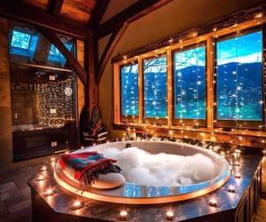lights, winter, and bath image
