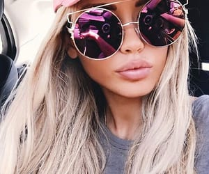 girl, sunglasses, and pink image