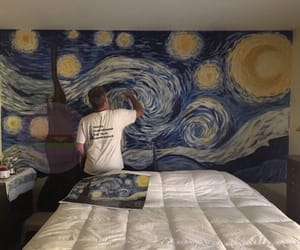 art, bed, and bedroom image