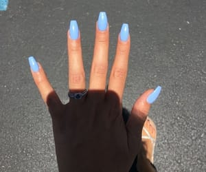 nails, blue, and acrylic nails image