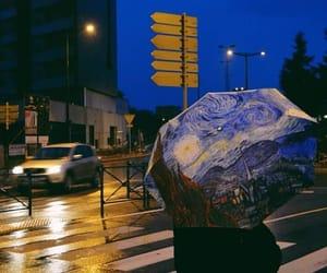rain, umbrella, and van gogh image