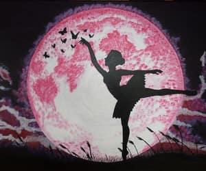 shadow silhouette, full moon ballerina, and pink moon ballerina image