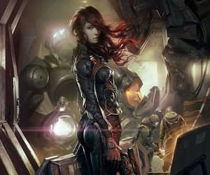 cyberpunk redhead, mechs engineers ship, and black red suit image