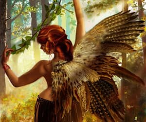 redhead fairy forest and pheasent owl hawk wings image