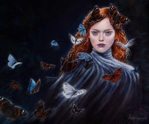 redhead blue eyes, mysterious redhead, and butterflies redhead image