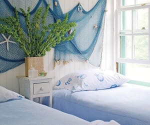 beach house, bedroom, and interiors image