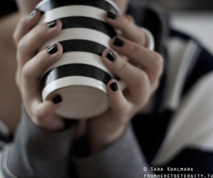 black nails, coffe, and cup image