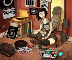 girl, room, and draw image