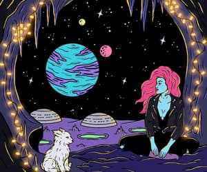 space, girl, and planet image