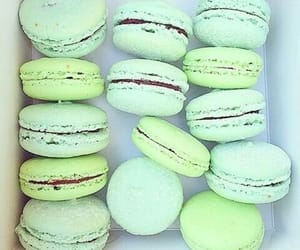 green, food, and macaroons image