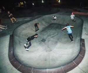 skate, night, and skateboarding image
