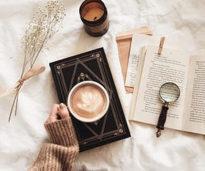 books, coffee, and sweater image