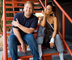 ariana grande, james corden, and sweetener image