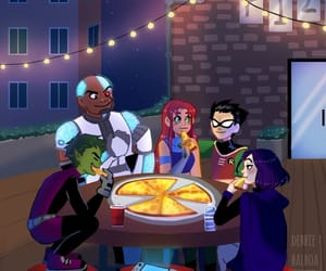 art, teen titans, and pizza image