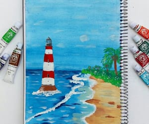 beautiful, painting, and light house image