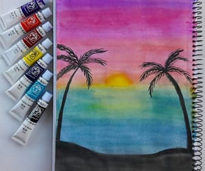 art, painting, and sunset image