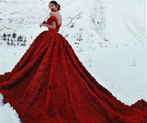 red, beautiful, and dress image