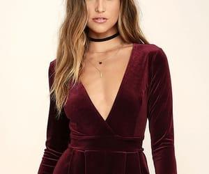 burgundy, fashion, and burgundy dress image